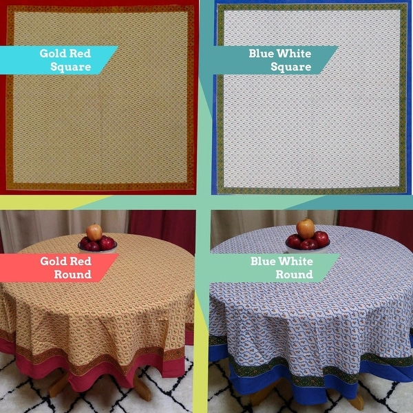 Cotton Floral Vine Round Tablecloth Square Table Linens Napkins Placemats