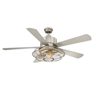 """Savoy House 56-578-5SV Connell 56"""" Span 5 Blade Hugger Indoor Ceiling Fan With Blades, Light Kit, And Remote Included"""