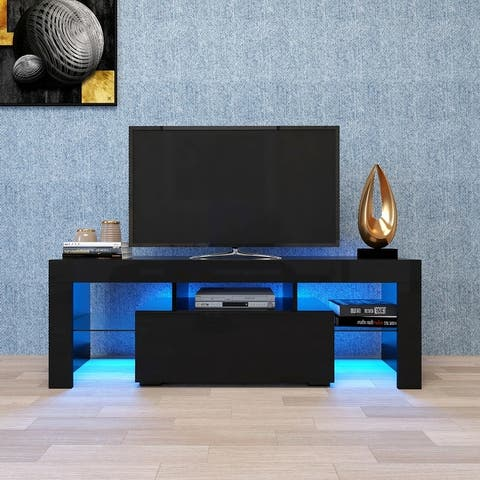 Moda Black TV Stand with LED RGB Light Flat Screen TV Cabinet