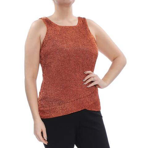 BAR III Womens Orange Sleeveless Scoop Neck Sweater Size L