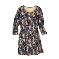 Women's Knit Dress - Blue Danube Floral Print - 3/4 Sleeves