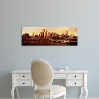 Easy Art Prints Panoramic Images's 'Buildings at the waterfront, Bow River, Calgary, Alberta, Canada' Canvas Art