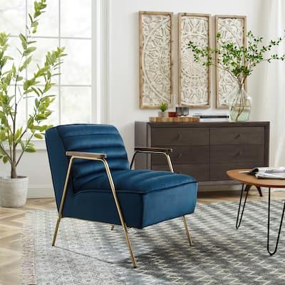 Art Leon Velvet Ribbed Accent Oak Armrest Chair with Metal Frame