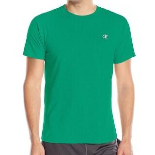 Champion NEW Green Mens Size Small S Solid Ribbed Crewneck Logo Tee T-Shirt 229