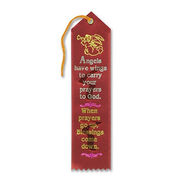 """Pack of 6 Red """"Angels Have Wings Award"""" Decorative Award Ribbon Bookmarks 8"""" - N/A"""