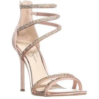 Jessica Simpson Jamalee Ankle Strap Zip Up Sandals, Nude Blush