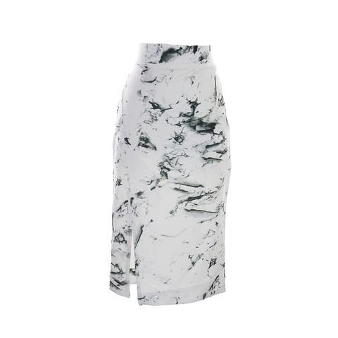 Kiind Of White Stone Granite Slit-Front Marbled-Print Midi Skirt M