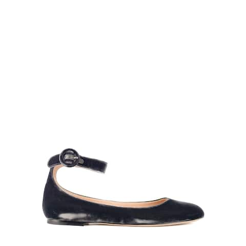 Gianvito Rossi Womens Dark Grey Velvet Ankle Strap Flats