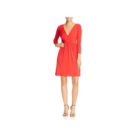 T Tahari Womens Trish Wear to Work Dress Surplice 3/4 Sleeves
