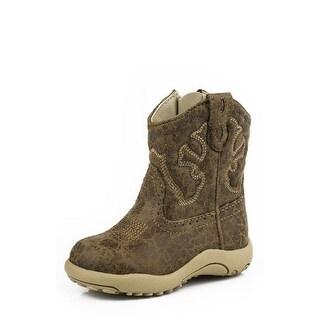 Roper Western Boots Boys Infants Zip Stitch Tan 09-016-1900-0065 TA