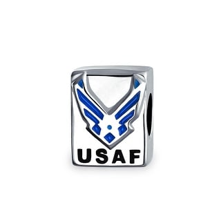 Bling Jewelry Blue Enemal USAF Air Force Charm 925 Sterling Silver Military Bead for European Bracelet
