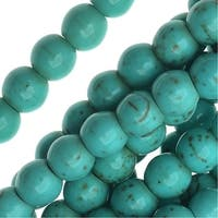 Blue Turquoise Gem Round Beads 6mm Stabilized /15.5 Inch Strand