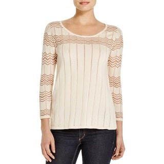 Avec Womens Pullover Sweater Pointelle Bateau