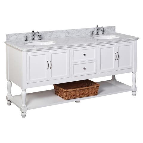 """KitchenBathCollection Beverly 72"""" Double Bathroom Vanity with Carrara Marble Top"""