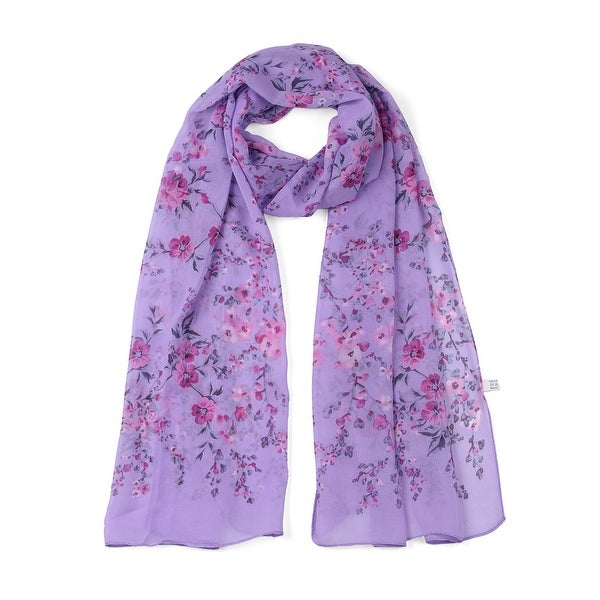 Long Chiffon Beach Scarf Silk Scarves Floral Scarves for Women Light Purple