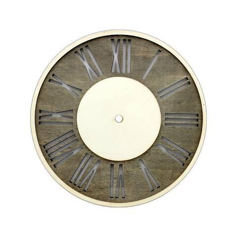 30020618 darice clock face wood distress w roman numerals