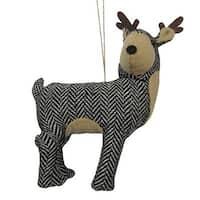 "6.25"" Black and White Herringbone Plush Reindeer with Antlers Christmas Figure Ornament - brown"
