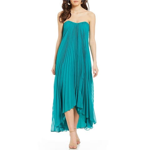 Laundry by Shelli Segal Strapless Pleated Hi-low Chiffon Gown, Tropical Green, 4