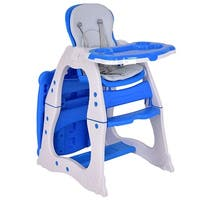 Costway 3 in 1 Baby High Chair Convertible Play Table Seat Booster Toddler Feeding Tray - Blue