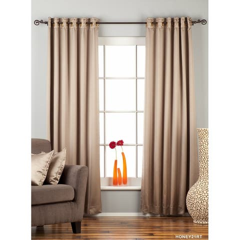 Brownish Gray Ring / Grommet Top blackout Curtain / Drape / Panel - Piece