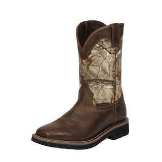 Justin Work Boots Mens Stampede Rugged Waterproof Western Tan WK4676