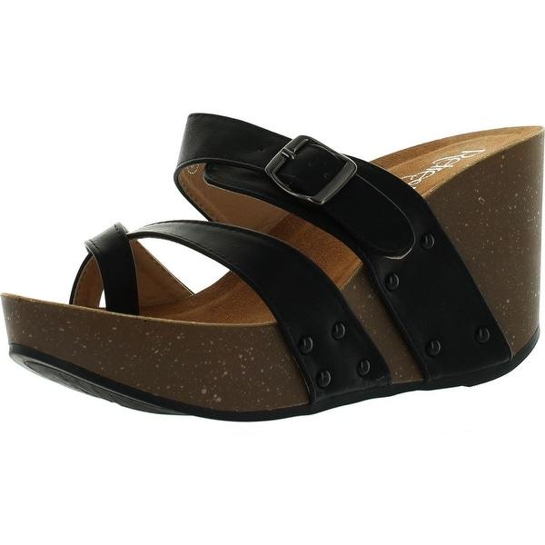 Refresh Mara-01 Womens Slide On Comfort Criss Cross Platform Wedge Sandal