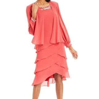 S.L. Fashions NEW Pink Women's Size 14 Tiered Chiffon Dress Jacket Set
