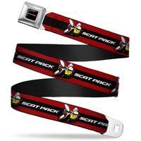Dodge Red Rhombus Full Color Dodge Scat Pack Badge Logo Stripe Red Black Seatbelt Belt