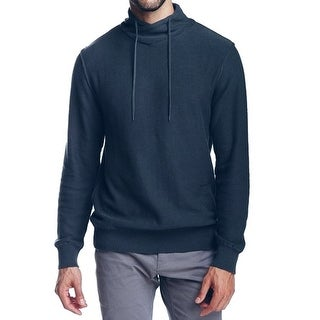 WRK NEW Blue Mens Size XL Shawl Collar Drawstring Mock Neck Sweater