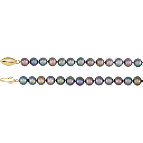 """Curata 14k Yellow Gold 6mm Freshwater Black Semi-round Pearl Necklace (16""""-20"""")"""