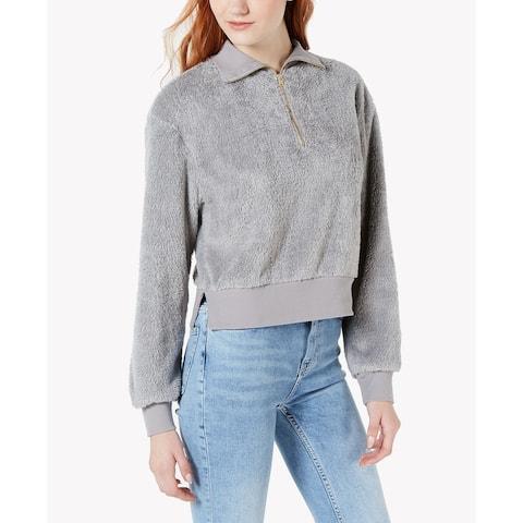 Material Girl Sweater Gray Size Medium M Junior Plush Half-Zip Pullover