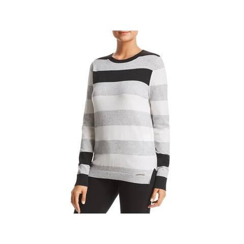 Donna Karan Womens Crewneck Sweater Wool Blend Striped