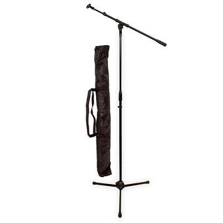 Podium Pro MS2 Adjustable Steel Microphone Stand with Boom Clamp Mic Clip and Stand Bag MS2SET11