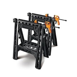 Positec Wx065 Clamping Sawhorse Pair With Bar Clamps Built-In Shelf And Cord Hooks