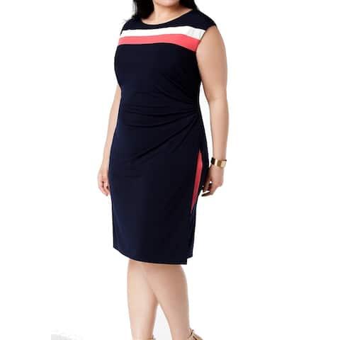 Connected Apparel Women's Sheath Dress Blue Size 24W Plus Striped