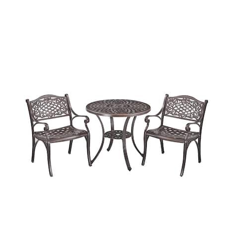Upland Elizabeth Cast Aluminum Garden Furniture Chairs 3 Pcs Set -Bronze
