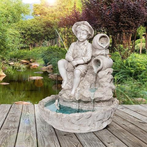 Design Toscano Little Fisherman at the Fishin Hole Sculptural Fountain