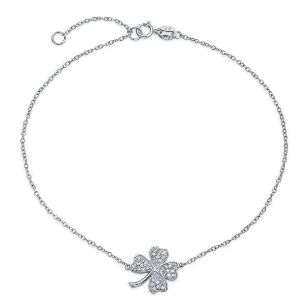 Bling Jewelry Cz Lucky Clover Sterling Silver Shamrock Ankle Bracelet 10in