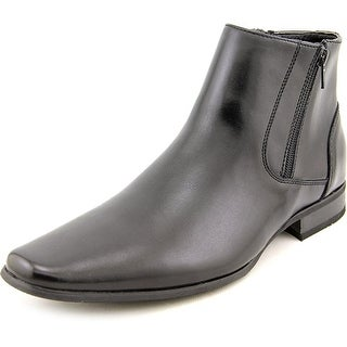 Calvin Klein Beck Men  Square Toe Leather Black Boot