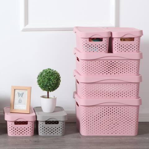 Set of 6 Plastic Storage Baskets Bins Container Tote Organizer w/ Lids