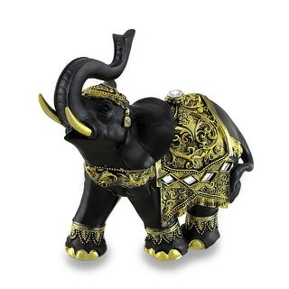 Exotic Black and Gold Finish Trunk Up Thai Elephant Statue - 6 X 6.5 X 3 inches