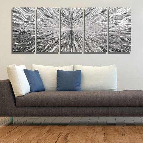 Statements2000 Silver Modern Metal Wall Art Panels Abstract Decor by Jon Allen - Vortex 5