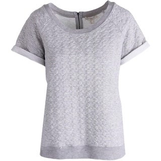 Love Fire Womens Juniors Pullover Sweater Quilted Short Sleeves