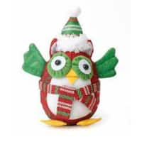 "7.5"" Decorative Red and Green Owl with Scarf and Hat Christmas Table Top Figure"