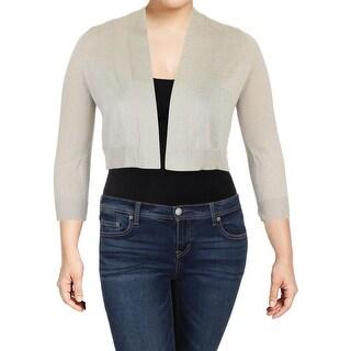 Calvin Klein Womens Petites Shrug Sweater Metallic Open Front