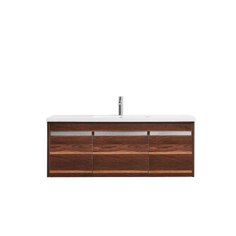 Thomas 48 in. Vanity in Walnut with Acrylic Top in White