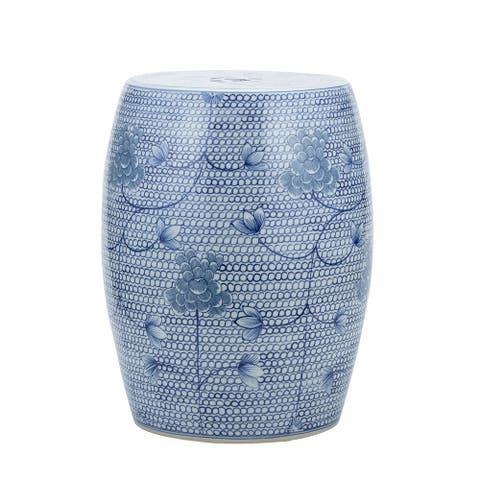 Blue And White Porcelain Chain Floral Garden Stool - 13x13x17