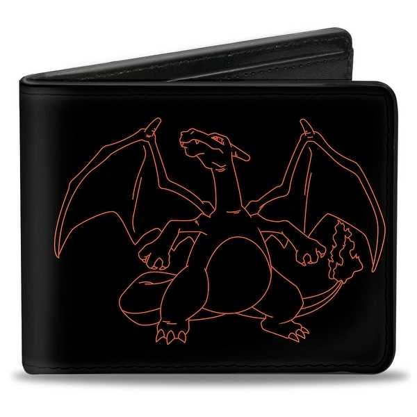 Charizard Outline Poses Black Orange Bi Fold Wallet - One Size Fits most