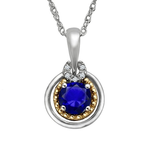 5/8 ct Sapphire Pendant with Diamonds in Sterling Silver & 14K Gold - Blue