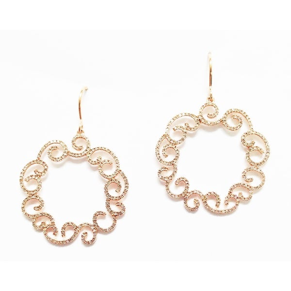 14K PINK GOLD SCROLL DESIGN DIAMOND EARRINGS